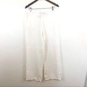 Talbots 100% linen front pockets tie waist pants